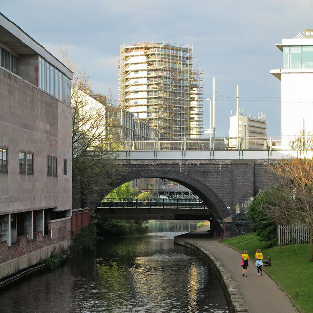 Court, canal, construction and recycled railway bridge