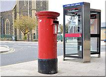 J0153 : Pillar box and telephone boxes, Portadown by Albert Bridge