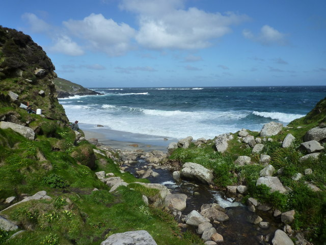 Portheras Cove on a breezy May morning