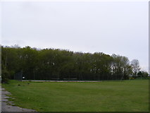 TM4087 : Tennis Courts at Ringsfield Village Hall by Adrian Cable