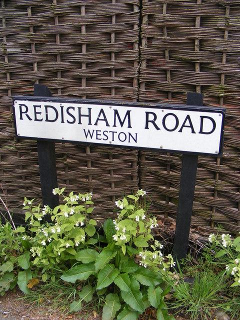 Redisham Road sign