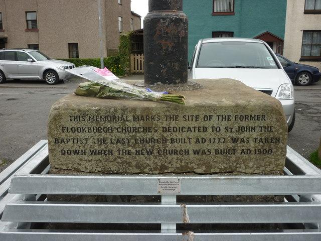 Memorial inscription, centre of Flookburgh