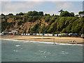 SZ5983 : Beach huts at Sandown Beach by Graham Robson