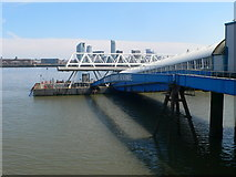 SJ3290 : Walkway to the floating stage of the Seacombe Ferry by Eirian Evans