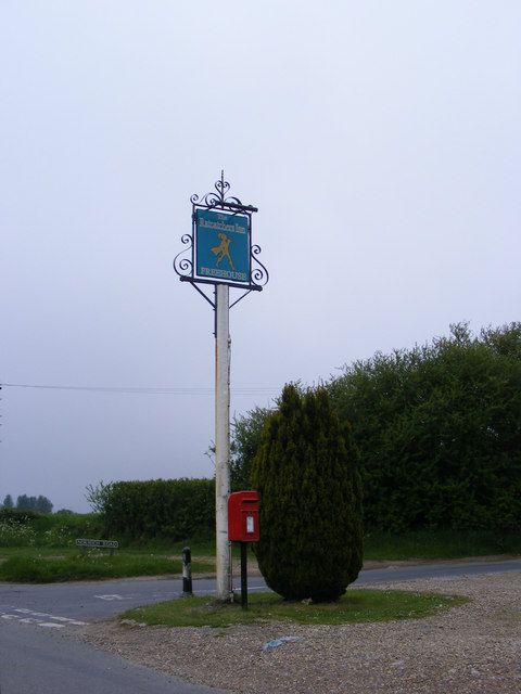 The Ratcatchers Inn Public House sign & Ratcatchers Public House Postbox
