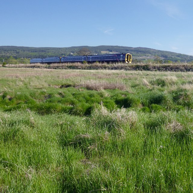Railway on an embankment, by the Beauly Firth