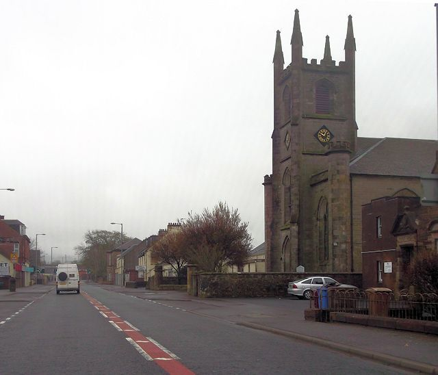 New Cumnock parish church from Castle