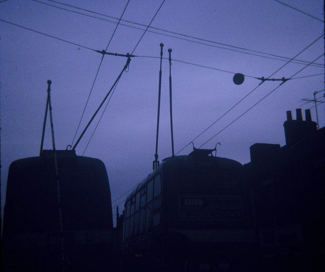 Two dewired trolleybuses at North Ormesby