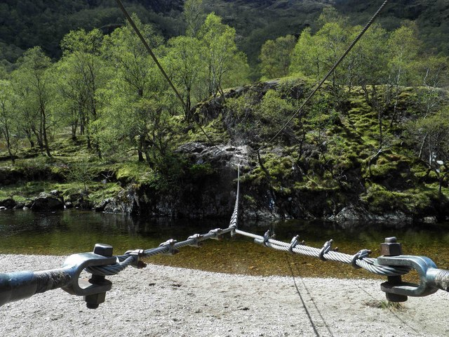 The wire rope bridge near Steall Falls