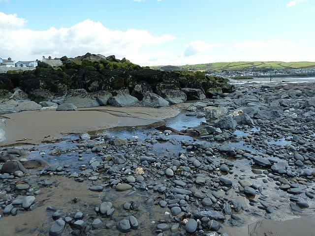Part of the new sea defences on Borth Beach