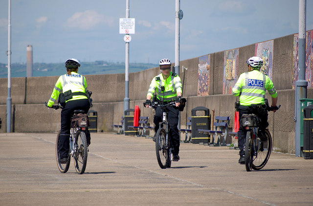Police on bicycles, Bangor