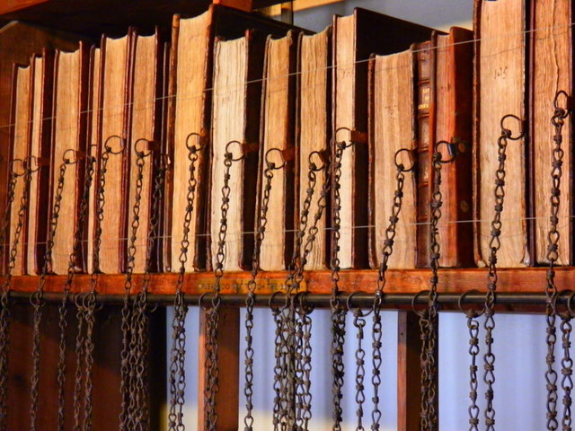 Wimborne Minster: later books in the chained library
