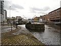 SE3032 : River Aire, Leeds Lock and Knight's Way Bridge by David Dixon