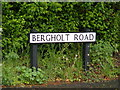 TM1036 : Bergholt Road sign by Adrian Cable
