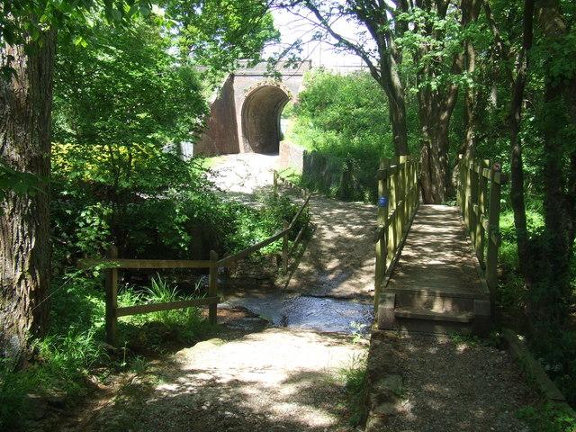 Footbridge over a stream near Plumpton, East Sussex