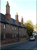 SO5923 : Distinctive chimneys on Grade II listed Webbe Almshouses, Ross-on-Wye by Jaggery