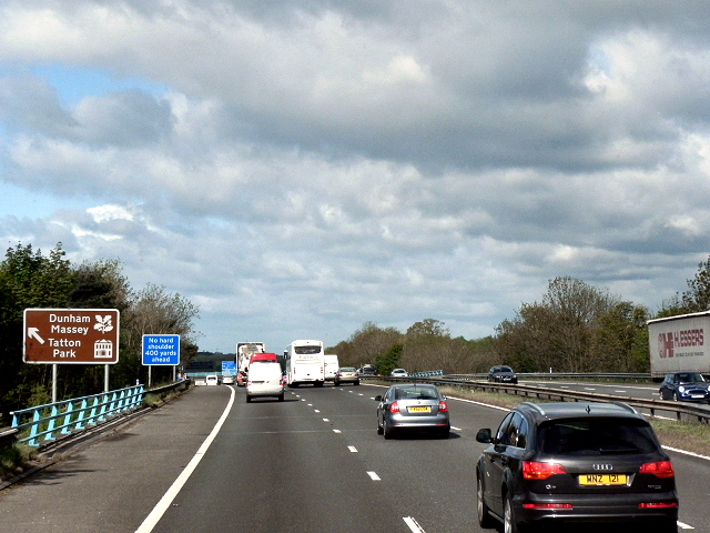 Westbound M56 Crossing Cow Lane