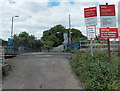 ST4787 : Warning notices, Caldicot railway station level crossing by Jaggery