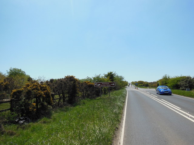 The A386 at the Moorland Garden Hotel turn off