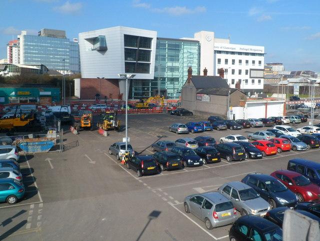 Adam Street car park, Vulcan and University buildings, Cardiff