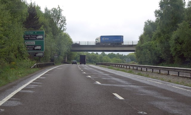 Lorry on bridge over A21