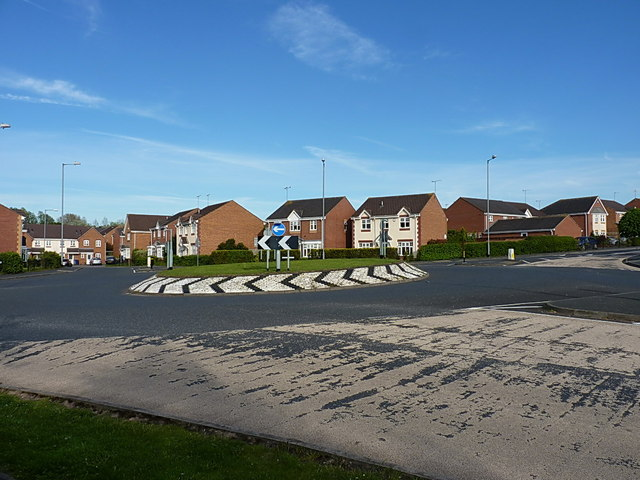 Roundabout and houses on Wimblebury Road