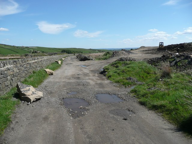 Driveway and landfill site near Haigh Cote Dam
