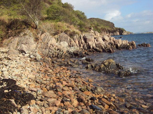 Rocky beach on Loch na Lathaich, Isle of Mull