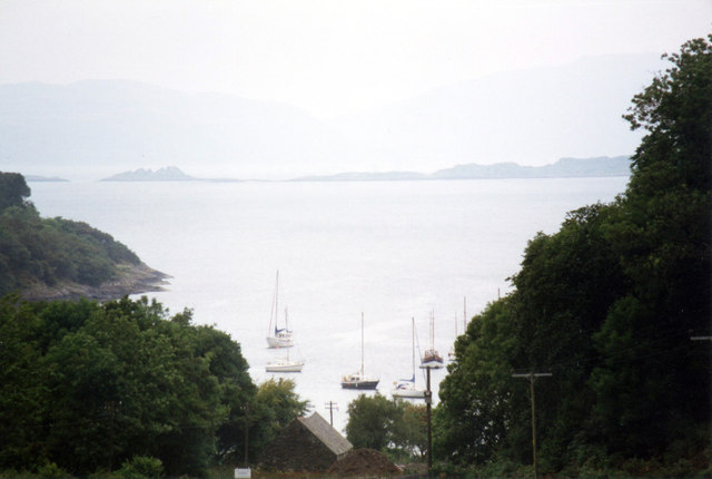 Looking down to Crinan Harbour from the road above