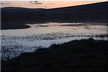 HP6312 : Haroldswick pool at dusk by Mike Pennington