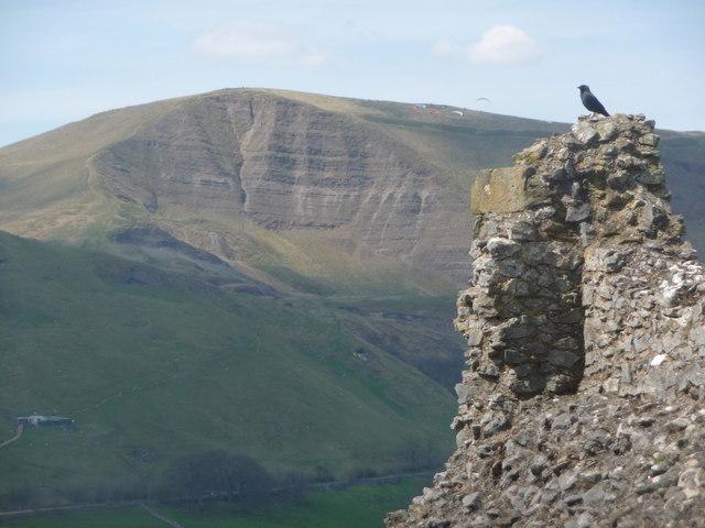 Castleton: view of Mam Tor from Peveril Castle