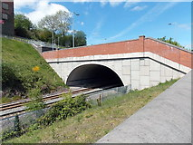 ST1599 : Southern portal of Bargoed railway station tunnel by Jaggery