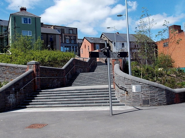 Steps up to High Street, Bargoed