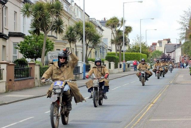 Purple helmets, comedy stunt motorcycle display team