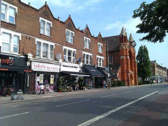 Shops and church in Garratt Lane, Earlsfield