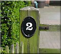 SK5709 : The number on the gatepost of 2 Crabtree Cottage by Andrew Tatlow