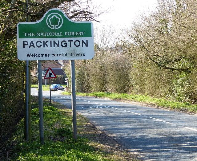 Packington sign along Normanton Road