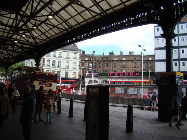 View of Pacha and The Shakespeare Pub from Victoria Station