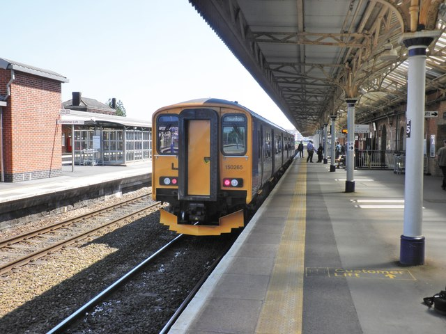 First Great Western 'shuttle' train for Bishop's Lydeard, stands at Platform 2, Taunton Station