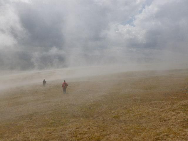 Mist rises off the hillside, Glas Maol