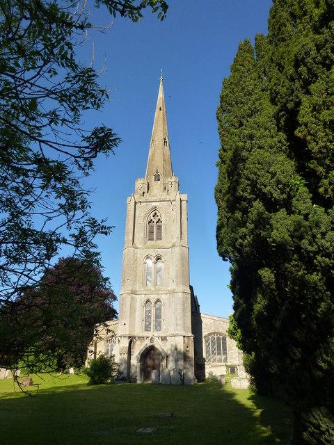 The spire of St Leonard's church in Leverington