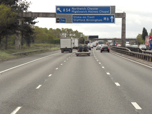 Sign Gantry on Southbound M6 near Rudheath Woods