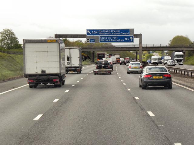 Sign Gantry and Byley Lane Bridge, Southbound M6 near Cranage