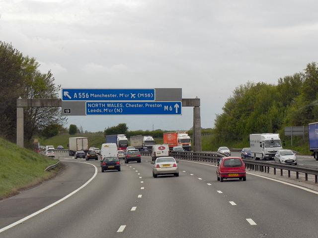 Northbound M6, Sign Gantry at Junction 19 Exit