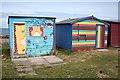 NJ1469 : Colourful Beach Huts by Anne Burgess