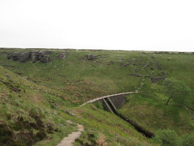 Footbridge over the dam at Ogden Clough
