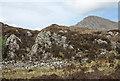 NG9417 : Dry stone wall ending on ridge above Shiel Bridge by Trevor Littlewood