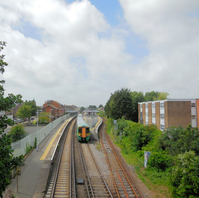Train leaving Worthing Station
