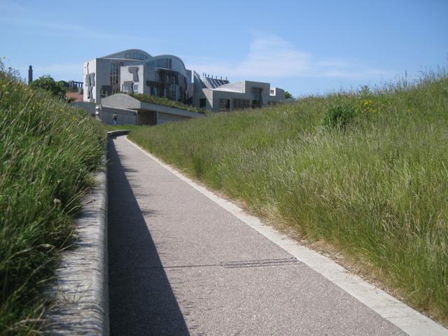 Path between 'tails', Scottish Parliament landscape