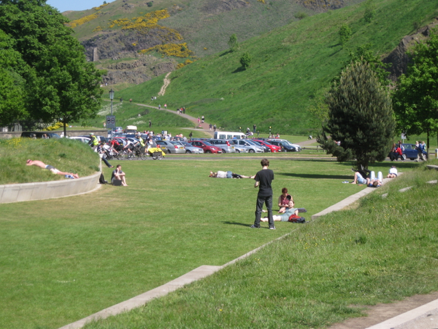 Close-mown grass, Scottish Parliament landscape